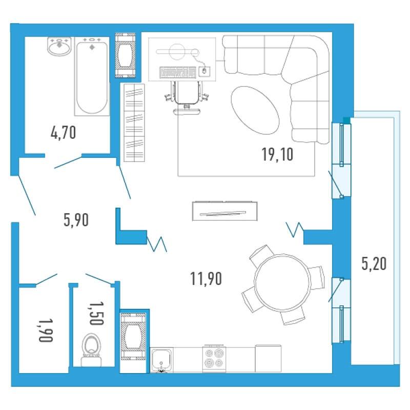 Планировка Однокомнатная квартира площадью 47.6 кв.м в ЖК «Небо Москвы»