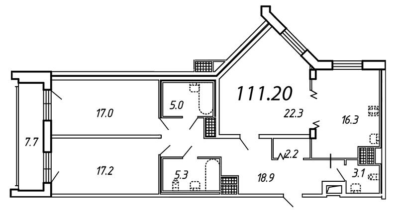 Планировка Трёхкомнатная квартира площадью 111.2 кв.м в ЖК «Небо Москвы»
