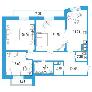 Планировка Трёхкомнатная квартира площадью 106 кв.м в ЖК «Небо Москвы»