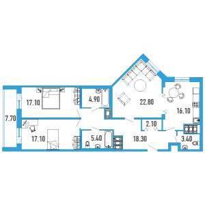 Планировка Трёхкомнатная квартира площадью 111.1 кв.м в ЖК «Небо Москвы»