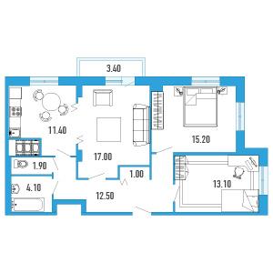 Планировка Трёхкомнатная квартира площадью 77.2 кв.м в ЖК «Небо Москвы»