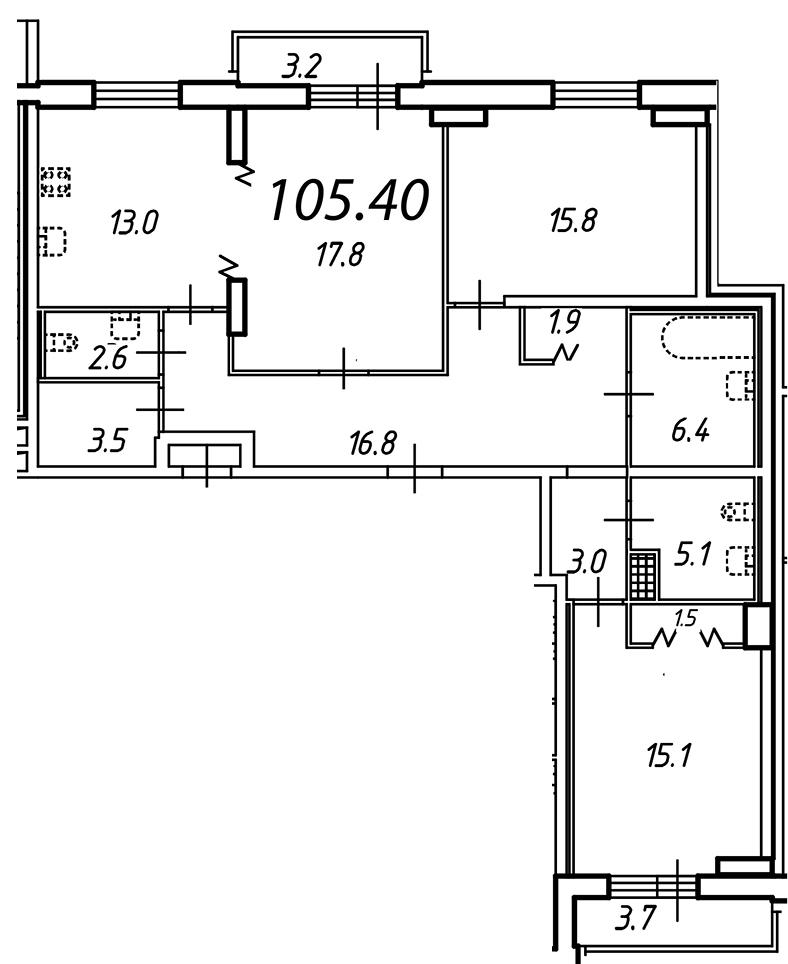 Планировка Трёхкомнатная квартира (Евро) площадью 105.4 кв.м в ЖК «Небо Москвы»