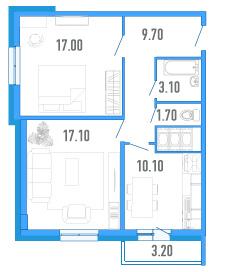 Планировка Двухкомнатная квартира площадью 59.7 кв.м в ЖК «Небо Москвы»