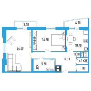 Планировка Двухкомнатная квартира площадью 75.1 кв.м в ЖК «Небо Москвы»