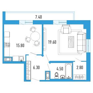 Планировка Однокомнатная квартира площадью 52.7 кв.м в ЖК «Небо Москвы»