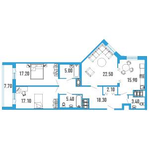 Планировка Трёхкомнатная квартира площадью 110.8 кв.м в ЖК «Небо Москвы»