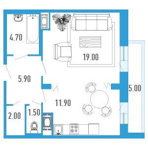 Планировка Однокомнатная квартира площадью 47.5 кв.м в ЖК «Небо Москвы»