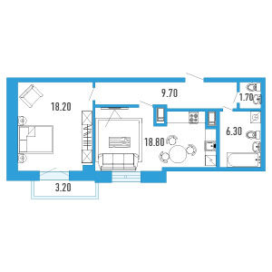Планировка Однокомнатная квартира площадью 55.7 кв.м в ЖК «Небо Москвы»
