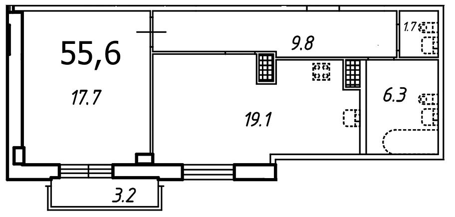 Планировка Однокомнатная квартира площадью 55.6 кв.м в ЖК «Небо Москвы»