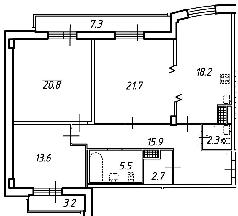 Планировка Трёхкомнатная квартира площадью 105.8 кв.м в ЖК «Небо Москвы»