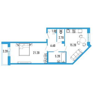 Планировка Однокомнатная квартира площадью 53.5 кв.м в ЖК «Небо Москвы»