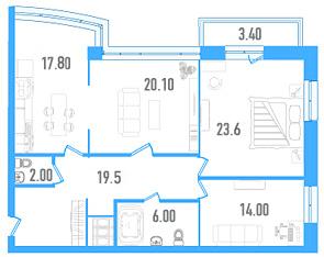 Планировка Трёхкомнатная квартира площадью 104.5 кв.м в ЖК «Небо Москвы»