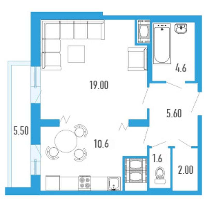 Планировка Однокомнатная квартира площадью 47.7 кв.м в ЖК «Небо Москвы»