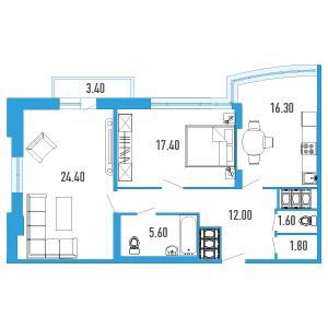 Планировка Двухкомнатная квартира площадью 80.1 кв.м в ЖК «Небо Москвы»